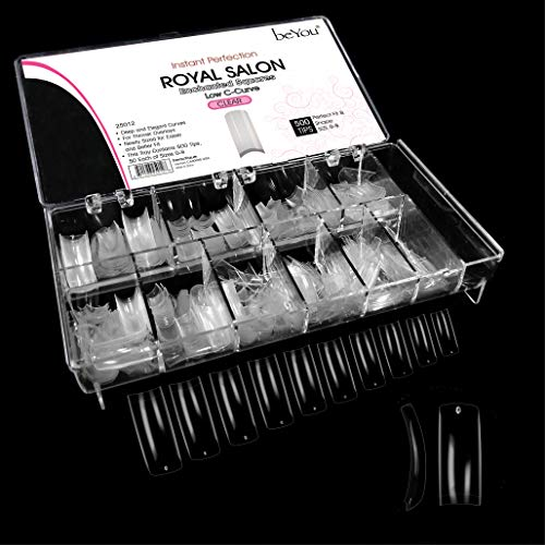 Beyou Clear Royal Salon 500 Artificial False Nail Tips 10Sizes With Clear Plastic Case for Nail Shop Nail Salon ...