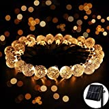 solar crystals - 8 Modes Solar Globe String Lights, Ankway 20ft 30 LED Outdoor String Christmas Lights Crystal Ball for Garden Path Home Bedroom Indoor Outdoor Christmas Decorations Warm White