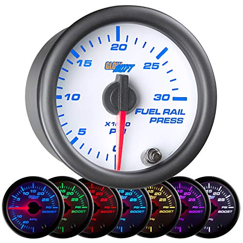 GlowShift White 7 Color 30,000 PSI Fuel Rail Pressure Gauge - For 2002-2017 6.6L Chevy Duramax & 2003-2017 5.9L / 6.7L Dodge Cummins Diesel Trucks - White Dial - Clear Lens - 2-1/16