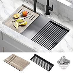 Kitchen Kraus KGUW1-33WH Bellucci Workstation Undermount Granite Composite Single Bowl Kitchen Sink with Accessories, 33 Inch… modern kitchen sinks