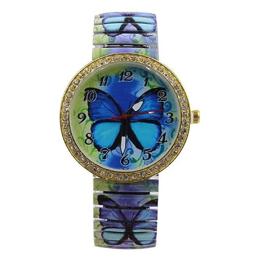 Amazon.com: Reloj de cuarzo con patrón de mariposa azul para ...