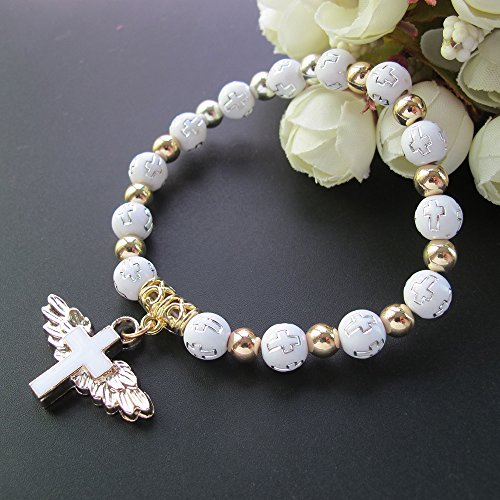 Christening Party Favors - Angel Wing Cross Bracelet Favor (12 PCS) for Boy and Girl - Baptism Favor/Christening Favor/Bautizo Recuerdos Church Event