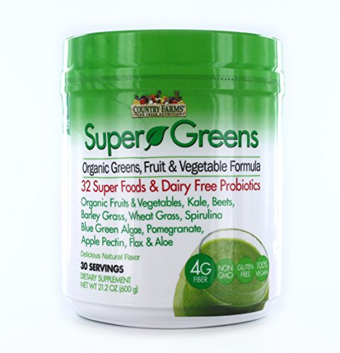 - Country Farms 30 Servings Super Greens Drink Mix Natural Flavor, 21.2 Ounce
