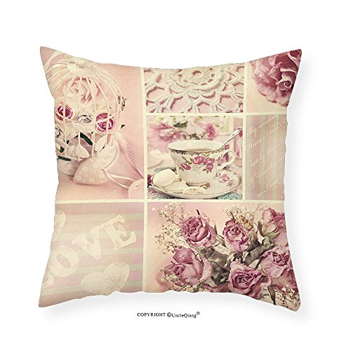 VROSELV Custom Cotton Linen Pillowcase Shabby Chic Grandmother Mothers Day Vintage Themed Lace Cage Cups Flowers for Bedroom Living Room Dorm Lilac Light Pink and White - Dorm Chic