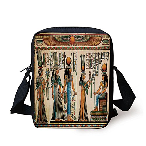 IPrint Egyptian,Egyptian Papyrus Depicting Queen Nefertari Making an Offering to Isis Image Print,Multicolor Print Kids Crossbody Messenger Bag Purse