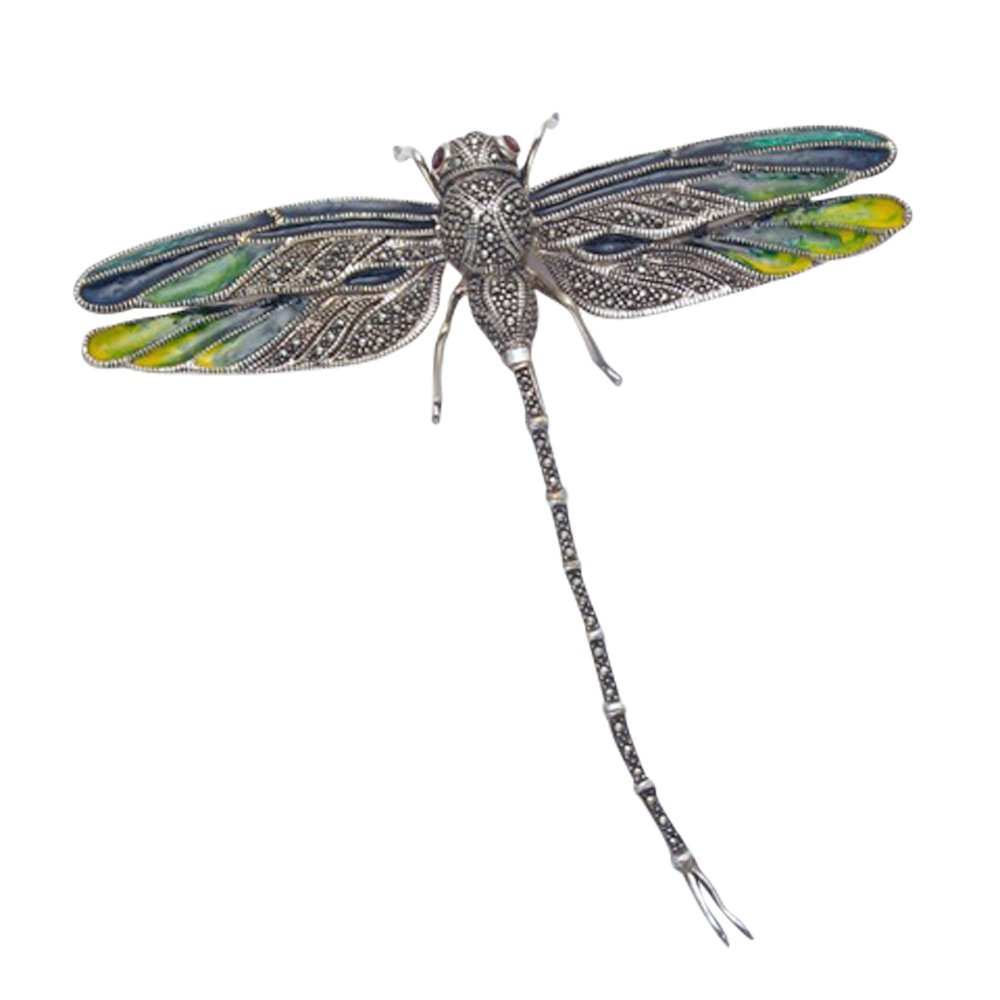 Large Sterling Silver & Marcasite Dragonfly Pin w/Multi Color Enamel Wings & Red Crystal Eyes