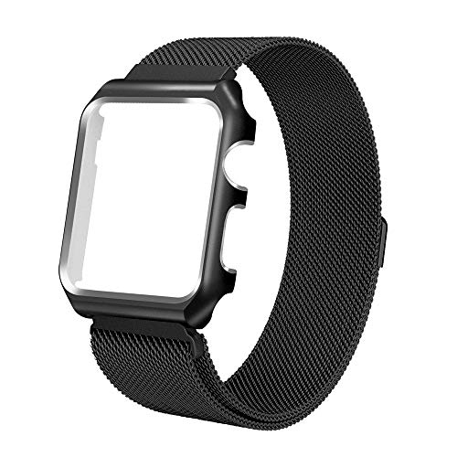 BIYATE Compatible for Apple Watch Band 42MM 44MM, Milanese Mesh Loop Stainless Steel Compatible iWatch Band with Magnetic Closure/Metal Protector Case for iWatch Series 4 3 2 1