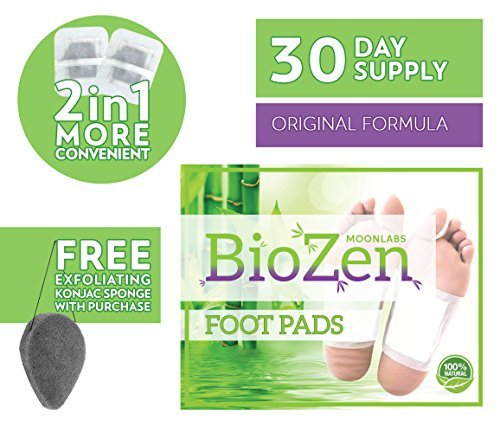 (Detox Foot Pads (30 Day Supply)| Remove TOXINS | Sleep Better| Pain Relief | Relieve Stress | Healthy Living | Overall Well Being | FDA Certified | **Comes with Free EXFOLIATING KONJAC Sponge!!)