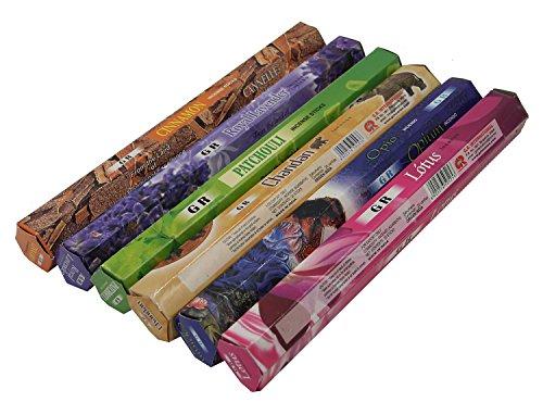 Dharmaobjects Cinnamon, Opium, Lavender, Patchouli, Chandan, Lotus Best Sellers Variety Pack of 6 Box 120 Incense Sticks