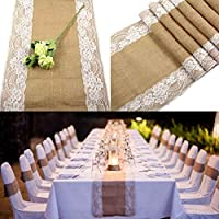 OurWarm Burlap Lace Hessian Table Runner Jute Country Fiesta de boda al aire libre Decoración