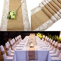 OurWarm Burlap Lace Hessian Table Runner Jute Country Fiesta de boda al aire libre Decoración
