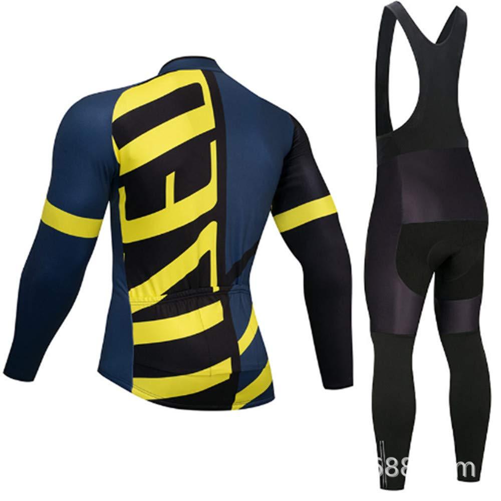 AUMING Fahrradbekleidung Set Radtrikot für Herren Radtrikot Set Jersey + Gel gepolsterte Hose Radsportanzug (Farbe   Gelb, Größe   S)