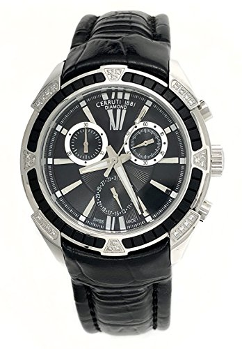Cerruti 1881 Ladies Chronograph Watch Black Tone with Leather Strap Diamond CCRWDM026A222Q
