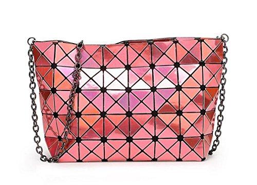 Yueling Hologramm Tasche Frauen Geometrische Handtasche Umhängetasche Hologramm Laser Silber Tasche orange QKSGV