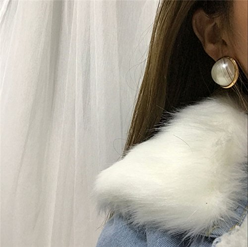 Personality Big Pearl Earrings earings Dangler Eardrop Korean Vintage Port Exaggerated Ideas Creative Students Semicircle Button Influx People (Chandelier Earrings Circle)