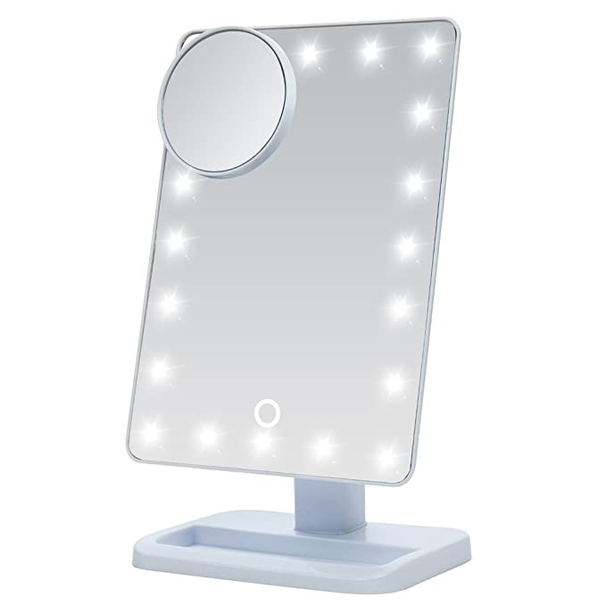 S·South Makeup Mirror with Lights, Illuminated Cosemetic Beauty Mirror with 10x Magnifying, 20 LED Touch Screen Lighted Makeup Mirror, Free Standing Make Up Mirror for Desktop Table Top