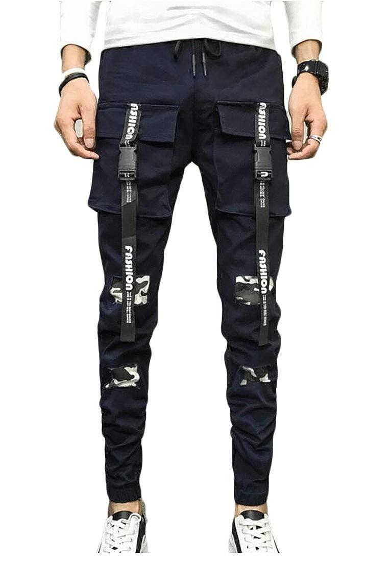 WSPLYSPJY Mens Hip Hop Slim Fit Stretch Patchwork Straight Pencil Pants Trousers