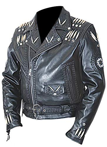 Indian Jacket Western Leather - Men's Western Cowhide Cowboy Leather Jacket Beaded & Botton Close Native American Coat Style (Large)