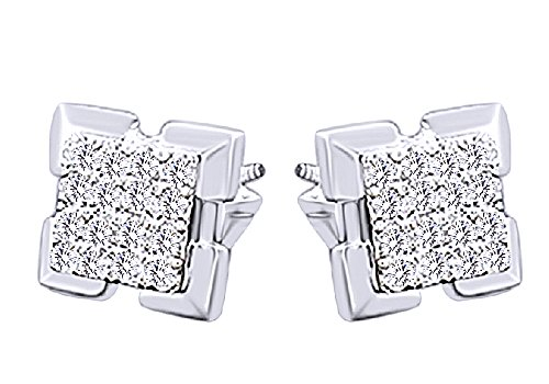 Round Cut White Natural Diamond Hip Hop Stud Earrings 14K Solid White Gold (0.34 Cttw) by Wishrocks