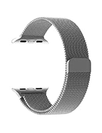 Apple Watch Band Series 1 Series 2 Series 3,Milanese Loop Stainless Steel Bracelet Smart Watch Replacement Strap for iWatch 38mm/42mm All Models with Unique Magnet Lock, No Buckle Needed (Silver-38mm)
