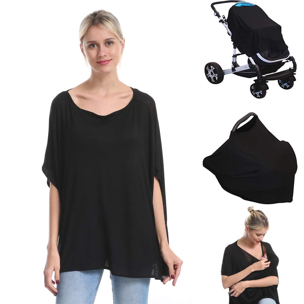 Nursing Breastfeeding Cover Car Seat Canopy for Infant Baby, Soft Bamboo Jersey, Extremely Stretchy, All-in-one Convertible Carseat Stroller Cover, Multi Use Nursing Cover Up Poncho Tops Clothes Black by Genovega