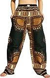RaanPahMuang African Dashiki Rising Sun Elastic Waist Ankara Pants, Large, Angelina – New Dark Green For Sale