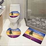 jwchijimwyc Lavender 3 Piece Toilet Cover set Purple Fields with Sunset Sky and Large Green Tree French Village Country Design pattern Multicolor