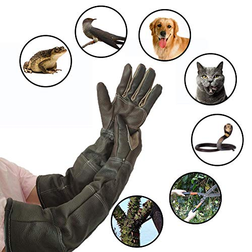 Pet Care Handling Gloves, Anti Scratch Protection Gloves, Protective Leather Forge Welding Gloves for Oven/Grill/Fireplace/Stove/Pot Holder/Tig Welder/BBQ/Cat/Dog Gardening Work Gloves (Random Color)