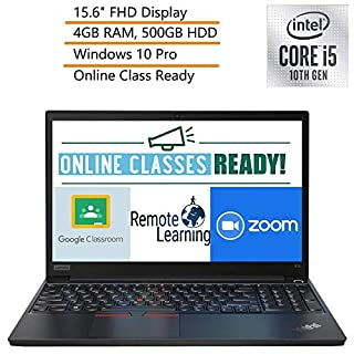 "2020 Lenovo ThinkPad E15 15.6"" FHD Business Laptop Computer, 10th Gen Intel Quad-Core i5-10210U, 4GB DDR4 RAM, 500GB HDD, Windows 10 Pro, iPuzzle DVD Extension, Webcam, Microphone, Online Class Ready"