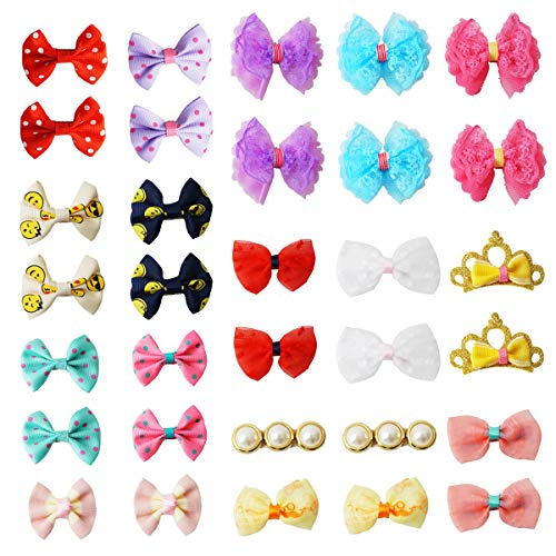pony princess Dog Bows Hair Accessories with Clip Pet Grooming Products Puppy Small Bowknot Handmade Mix Styles Small Middle Hair Bows Topknot 32PCS/16Pairs ()