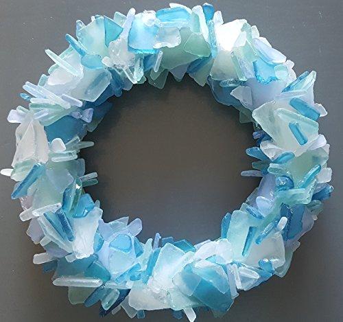 Beach Decor Sea Glass Wreath - Nautical Beach Glass Wreath - Sea Glass Art in ANY GORGEOUS COLOR - ()