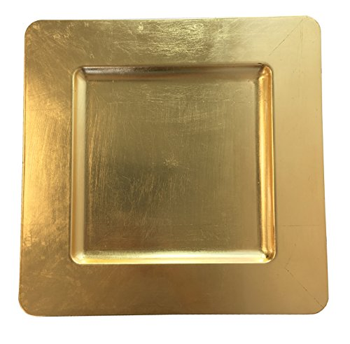 (Luxurious Gold Heavy Duty Square Charger Event Charger Plate (12))