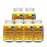 [6-bottle Pack] Turmeric Curcumin (100% Potent and Natural with Bioperine & Other Herbs) 120 Veggie Capsules 1000mg in Daily Serving
