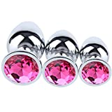 GuiLN 3PCS Diamond Jeweled Beginners Butt Plug Anal Plug Fetish Kinky Games Personal Massager for Men Women Couples Lover Jewel Fetish BDSM Toys for Women Men(Rose)