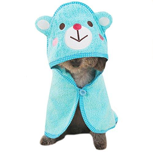 Budd Pet Dog Towel Puppy Cat Cartoon Bath Towel Multifunction Absorbent Dog Large Bathrobe Warm Blanket Pet Doggie Supplies(Blue)]()