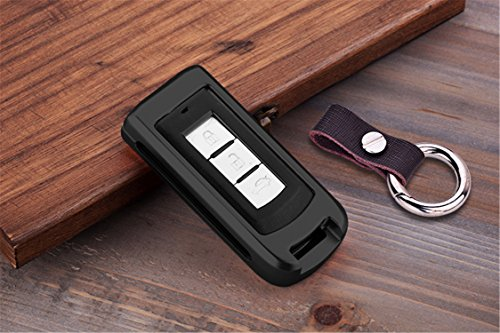 [M.JVisun] Car Key Fob Cover For Mitsubishi Fortis Lancer EX Outlander ASX Remote Key Engine Start Stop , Smart Car Key Case Cover Skin Protector , Aircraft Aluminum + Genuine Leather Keychain - Black