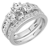 1.80 Carat (ctw) 14K White Gold Round Diamond Bridal Engagement Ring Wedding Band Set (Size 8)