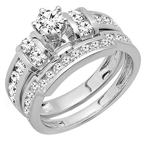 (Dazzlingrock Collection 1.80 Carat (ctw) 14K Round Diamond Bridal Engagement Ring Wedding Band Set, White Gold, Size 7.5)