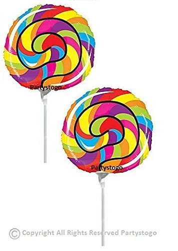 CANDY LOLLIPOP BALLOONS MINI SHAPE FAVORS DECORATIONS (QTY10) CANDY LAND BIRTHDAY PARTY CANDY BAR