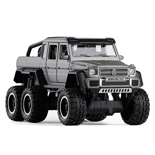 (Bseion Six-Wheeled Big-Footed Off-Road Vehicle 1:32 Alloy Sound and Light Inertia Car Friction Toy Car Children's Birthday Truck Collection Furnishings ( Color : Gray ))