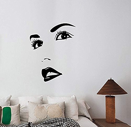 Woman Face Eyes Lips Wall Art Decal Sexy Hot Girl Look Vinyl Sticker Glamour Fashion Decorations for Home Hair Beauty Salon Makeup Studio Room Decor Ideas -