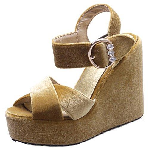 TAOFFEN Mujer Moda Peep Toe Sandalias Tacon De Cuna Tacon Alto Plataforma Al Tobillo Zapatos Amarillo