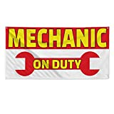 Mechanic On Duty #2 Outdoor Fence Sign Vinyl Windproof Mesh Banner With Grommets - 2ftx3ft, 4 Grommets