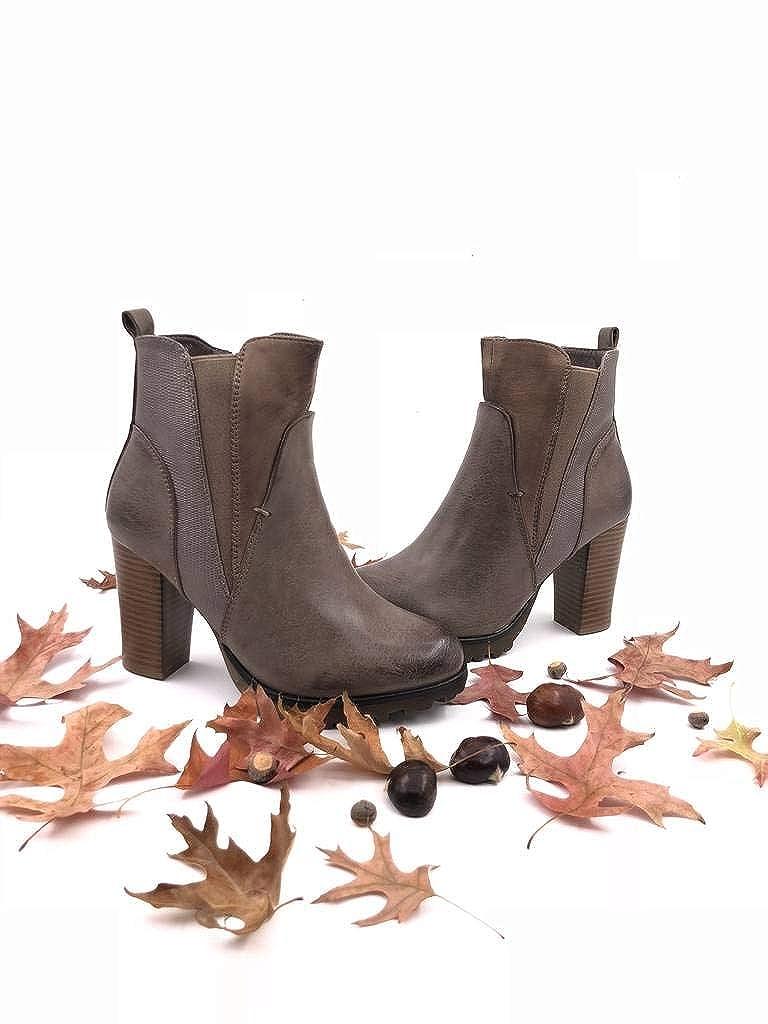 Scarpe Moda Stivaletti Scarponcini Chelsea Boots bi-Materiale Zeppe Donna Pelle di Serpente Elastico Tacco a Blocco Alto 9 CM Foderato di Pelliccia Angkorly