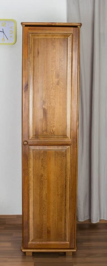 Tall Narrow 1 Door Wardrobe Tallboy 003 Solid Pine Wood Oak Finish