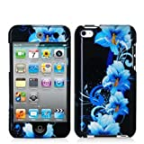 Fosmon Snap-On Hard Crystal Case for Apple iPod Touch 4th Generation (Blue Flowers Design)