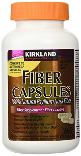 Fiber Capsules Kirkland Therapy for Regularity/Fiber Supplement, 360 capsules – Compare to the Active Ingredient in Metamucil Capsules