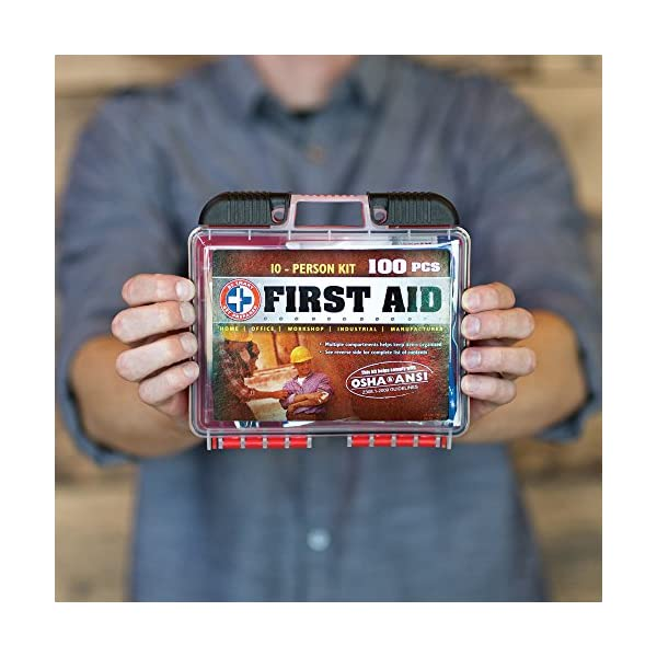 Be Smart Get Prepared 100 Piece First Aid Kit Exceeds OSHA ANSI Standards For 10 People Office Home Car School Emergency Survival Camping Hunting And Sports