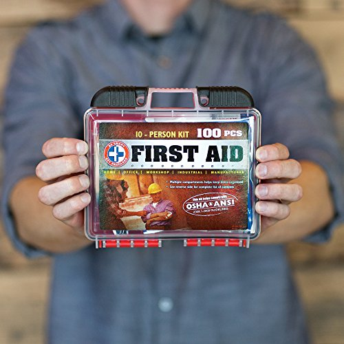 Be Smart Get Prepared 100 Piece First Aid Kit, Exceeds OSHA ANSI Standards for 10 People Office, Home, Car, School, Emergency, Survival, Camping, Hunting, and Sports