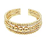 Rosemarie Collections Women's Bead and Crystal Fancy Cuff Bracelet